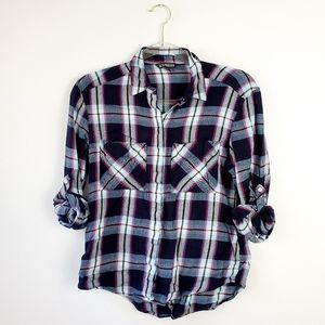 Express Plaid Button Up Long Sleeve Top